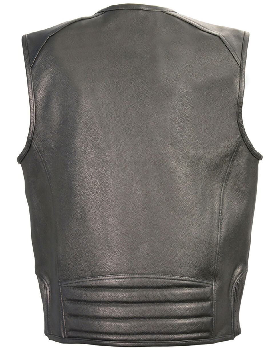 Milwaukee Leather Men's Zipper Front Vest With Side Stretch Flex - 4X, Black, hi-res