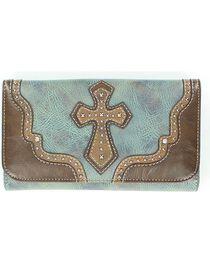 Blazin' Roxx Women's Studded Cross Overlay Wallet, , hi-res