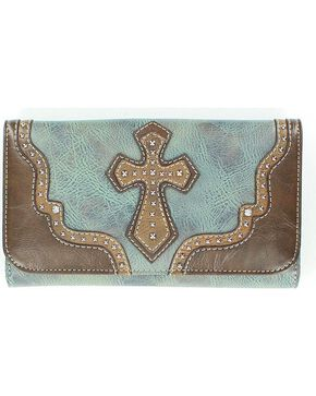 Blazin' Roxx Women's Studded Cross Overlay Wallet, Blue, hi-res