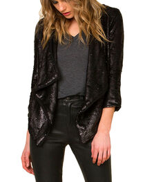 Miss Me Women's Black Sequin Draping Cardigan, , hi-res