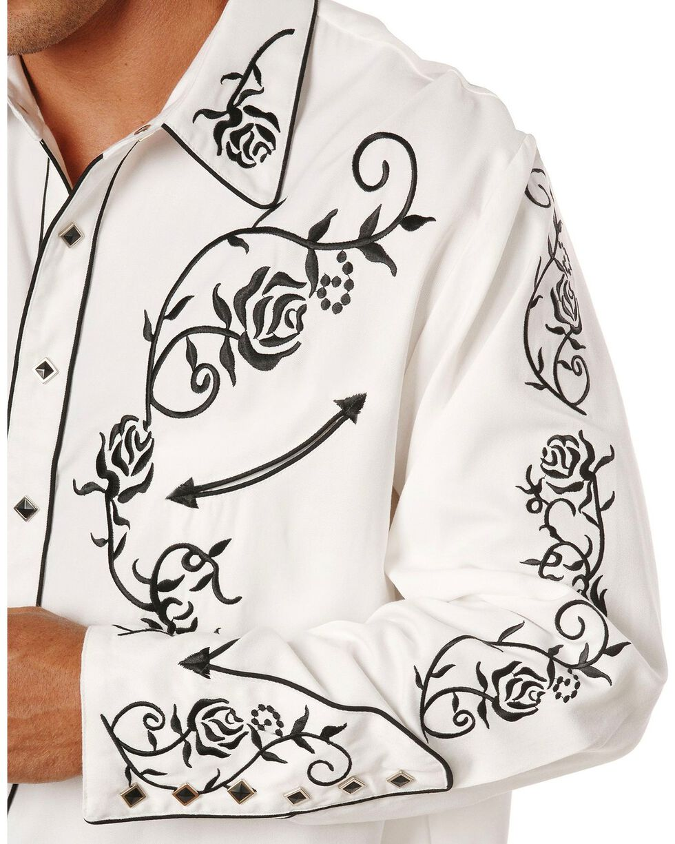 Scully Men's Floral Embroidered Western Shirt, White, hi-res