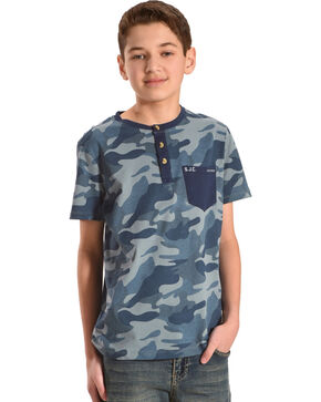 Silver Boys' Blue Camo Short Sleeve Henley Tee, Blue, hi-res