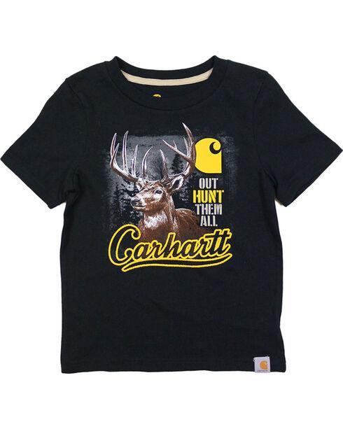 "Carhartt Boys' ""Out Hunt Them All"" Short Sleeve Tee, Black, hi-res"