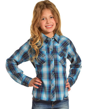 Cumberland Outfitters Girls' Turquoise Lurex Plaid Long Sleeve Shirt, Turquoise, hi-res