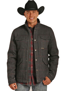 Powder River Outfitters Men's Grey Herringbone Plaid Wool Coat , Grey, hi-res