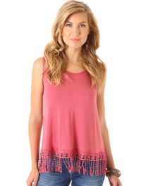 Wrangler Women's Crochet Hem and Crisscross Sleeveless Top, , hi-res