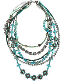Treska Women's Cowtown 6-Strand Beaded Necklace , Turquoise, hi-res