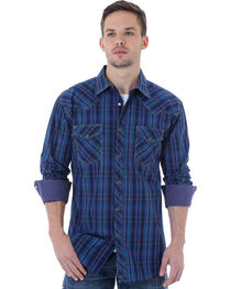 Wrangler 20X Men's Navy & Turquoise Plaid Shirt, Navy, hi-res