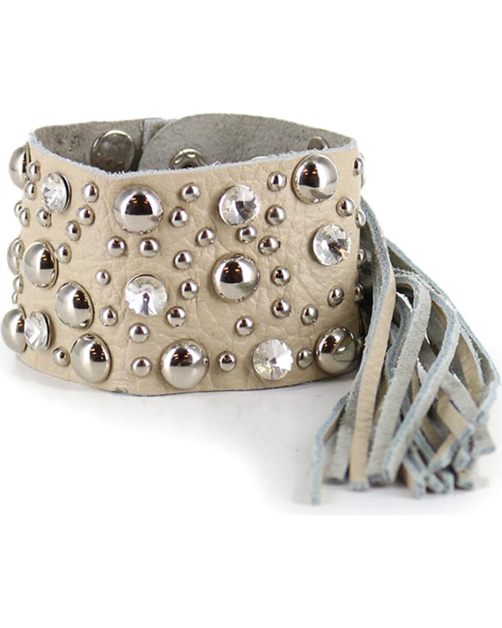 Shyanne® Women's Rhinestone Studded Fringe Bracelet, Cream, hi-res