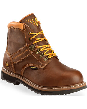 "Dan Post Men's Gripper Zipper 6"" Lace Up Work Boots, Brown, hi-res"