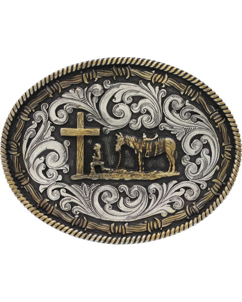 Montana Silversmiths Two-Tone Classic Impressions Christian Cowboy Attitude Belt Buckle, Multi, hi-res