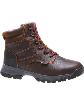 Wolverine Women's Piper Waterproof Work Boots, Brown, hi-res