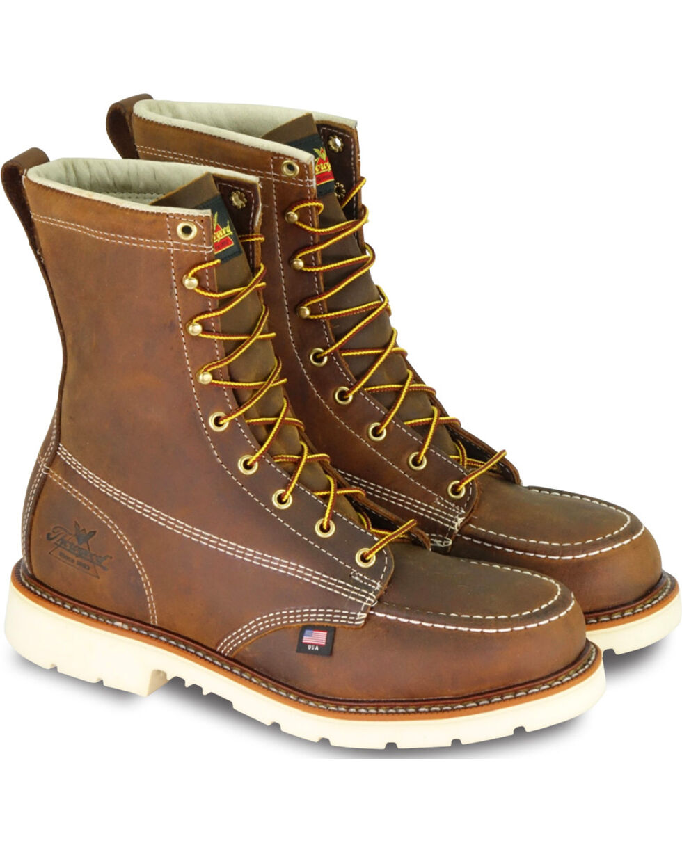 Thorogood Men's Steel Toe Lace Up Work Boots, Brown, hi-res