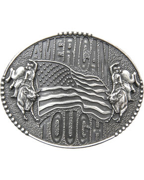 AndWest Men's American Tough Bull Rider Belt Buckle, Silver, hi-res