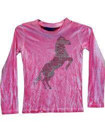 Cowgirl Hardware Girls' Aztec Horse Tie Dye Long Sleeve Tee, , hi-res