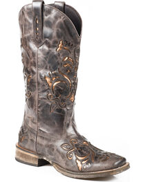 Roper Belle Sanded Metallic Underlay Cowgirl Boots - Square Toe, , hi-res