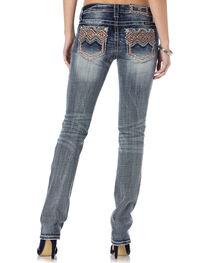 Miss Me Tribal Print Pocket Whiskered Jeans - Straight Leg , , hi-res