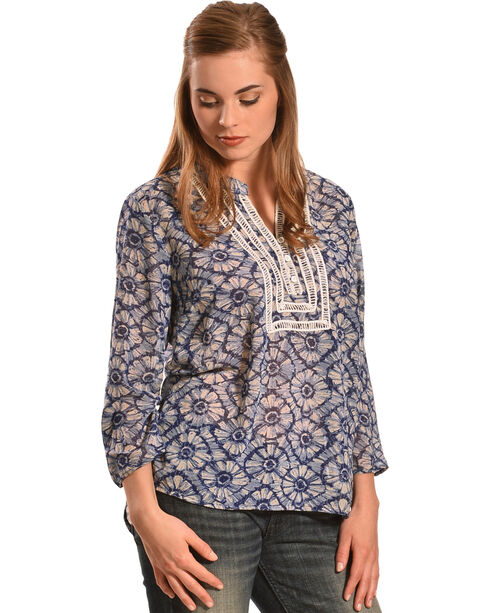 Tantrums Women's Blue Floral Crochet Peasant Top - Plus, Blue, hi-res