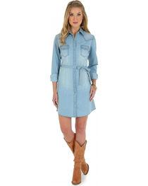 Wrangler Long Sleeve Stonewash Denim Shirt Dress, , hi-res