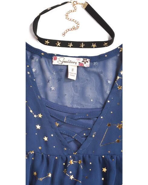 Speechless Girls' Navy Zodiac Print Cold Shoulder Top , Navy, hi-res