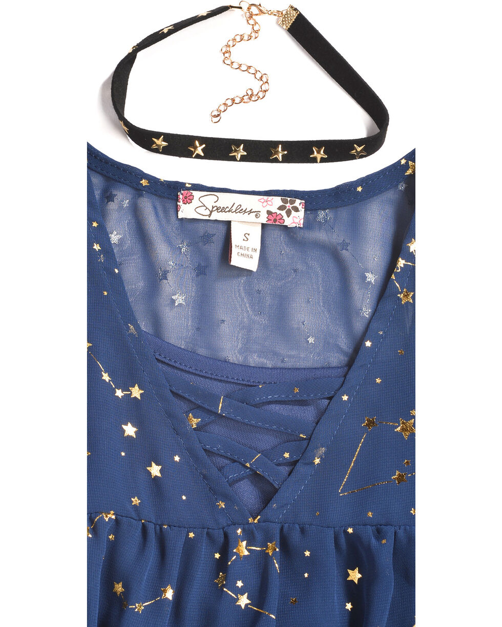 Speechless Girls' Navy Zodiac Print Cold Shoulder Top , Navy, hi-res