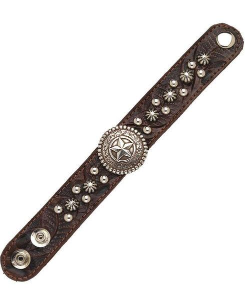 American West Women's Chestnut Star Concho Narrow Cuff Bracelet , Chestnut, hi-res