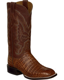 Lucchese Cigar Brown Sean Belly Caiman Cowboy Boots - Square Toe , , hi-res