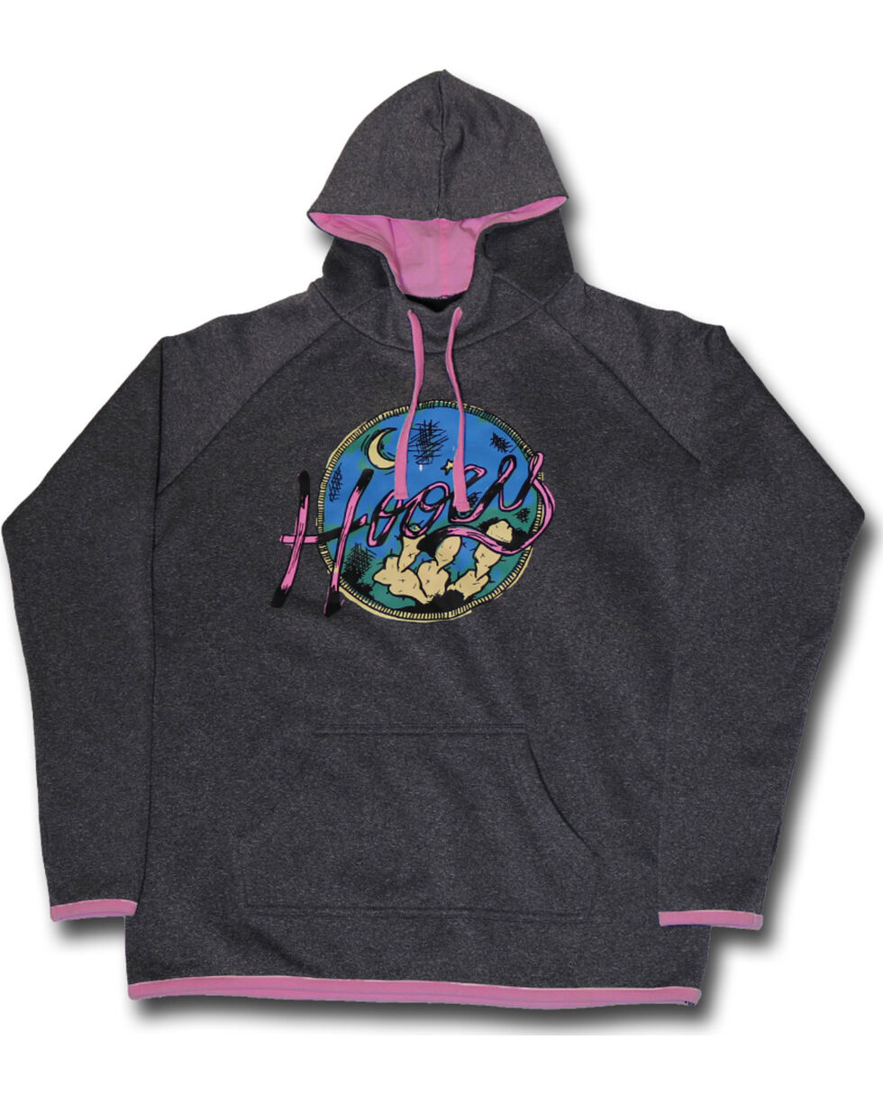 Hooey Women's Grey Cactus Nights Hoodie , Grey, hi-res