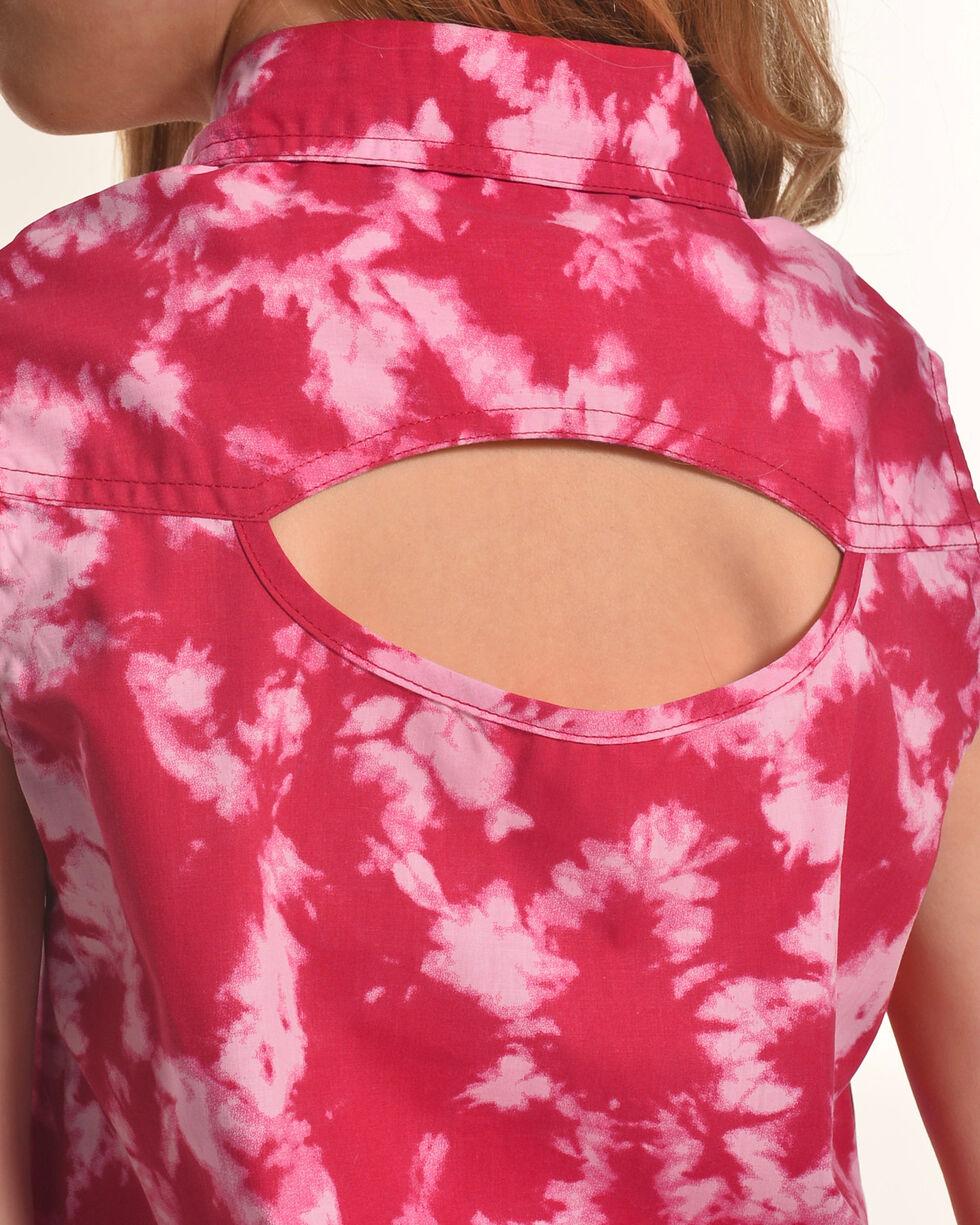 Shyanne Girls' Tie-Dye Sleeveless Shirt, Pink, hi-res