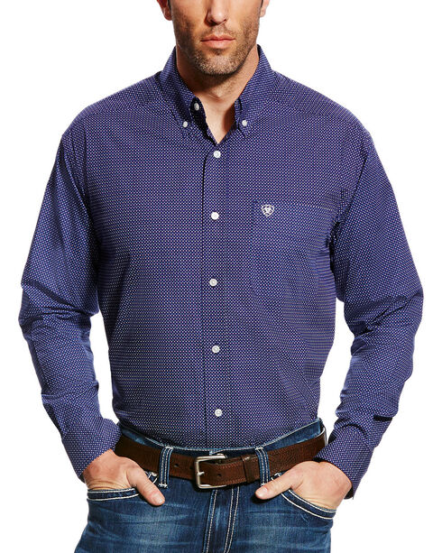 Ariat Men's Elliot Print Button Down Shirt, Blue, hi-res