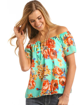 Panhandle Women's Aqua Floral Off The Shoulder Top, Aqua, hi-res