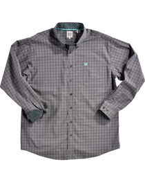 Cinch Men's Grey Plaid Print Long Sleeve Western Shirt - Big, , hi-res