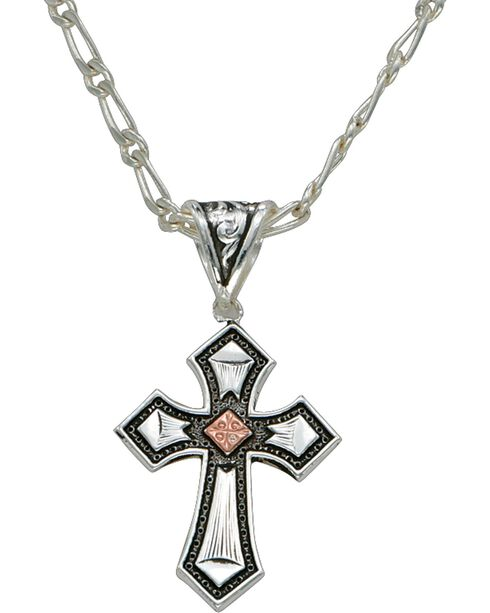 Montana Silversmiths Antique Silver Cross Necklace, Silver, hi-res
