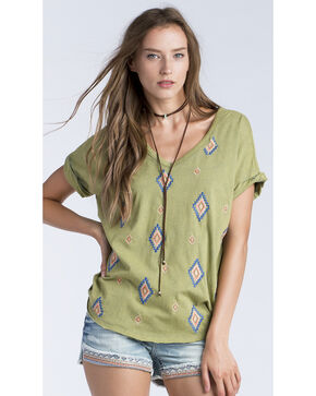 Miss Me Women's Olive Diamond Embroidered V-Neck Shirt , Olive, hi-res