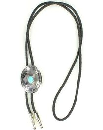 Oval Turquoise Stone Bolo Tie, , hi-res