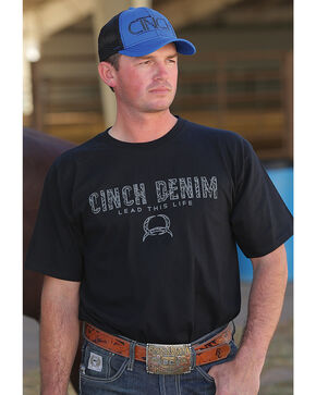 Cinch Men's Black Short Sleeve Jersey Tee , Black, hi-res