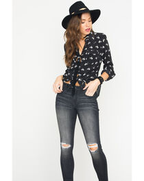 Ryan Michael Women's Silk Bucking Horse Print Shirt, , hi-res