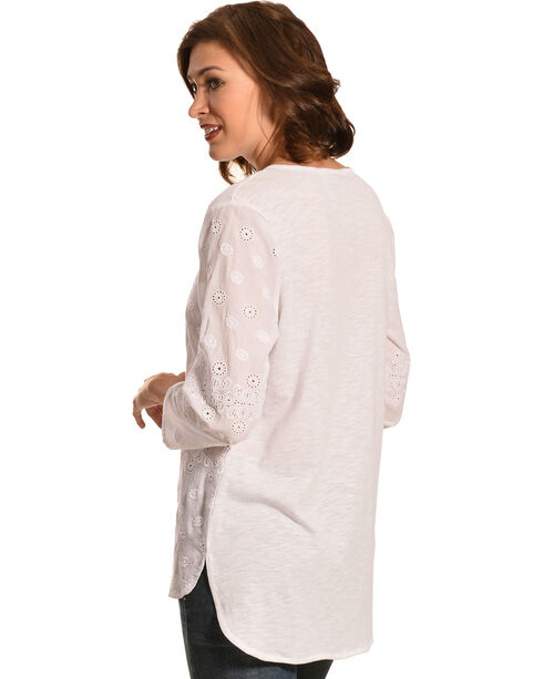 New Direction Sport Women's Hi-Lo White Henley Top, White, hi-res