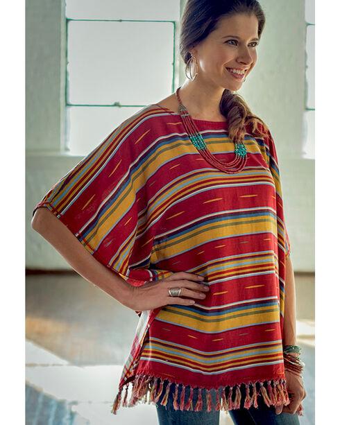 Ryan Michael Women's Serape Poncho, Brick, hi-res