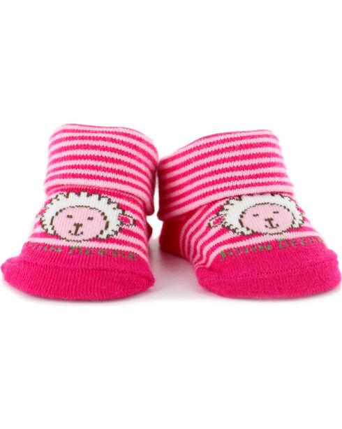 John Deere Newborn Lamb Bootie Socks, Pink, hi-res