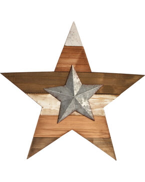 BB Ranch Wood & Metal Star Wall Art, Multi, hi-res