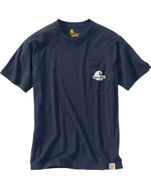 Carhartt Men's Maddock Block Lettering Graphic Short Sleeve T-Shirt, Navy, hi-res