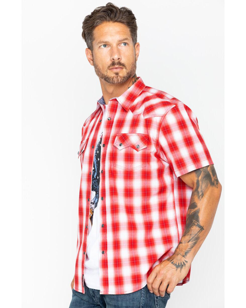 Moonshine Spirit Men's Tequila Sunrise Short Sleeve Western Shirt, Red, hi-res