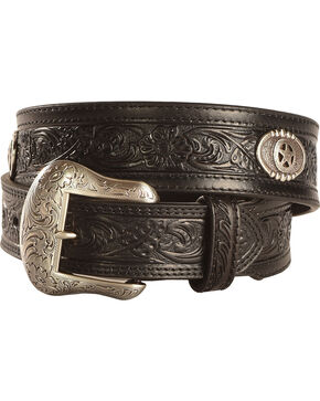 Nocona Tooled Concho Belt, Black, hi-res