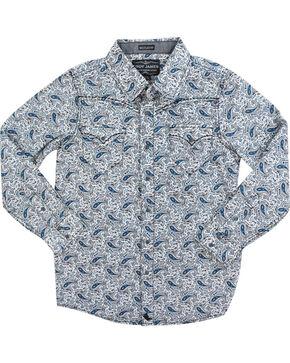 Cody James® Boys' Calico Paisley Long Sleeve Shirt, Navy, hi-res