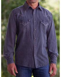Ryan Michael Men's Black Sand Wash Silk Cotton CanvasShirt, , hi-res