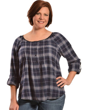 Red Ranch Women's Blue Plaid Pleather Trim Flannel Top - Plus, Blue Plaid, hi-res