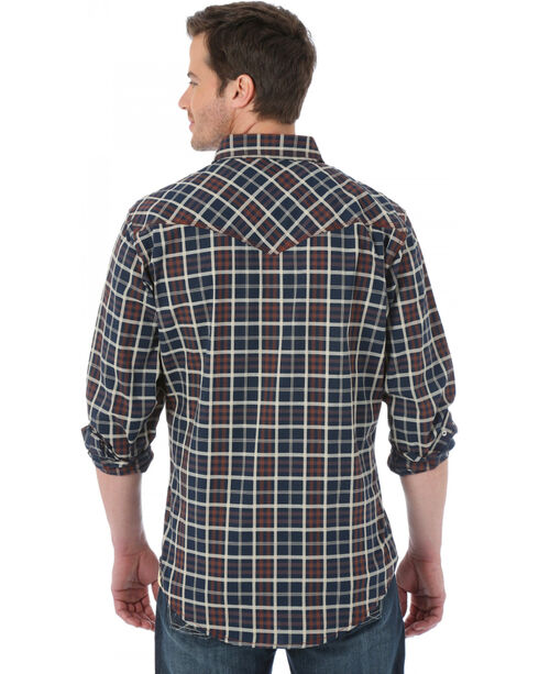 Wrangler 20X Black and Brown Plaid Western Shirt, Black, hi-res