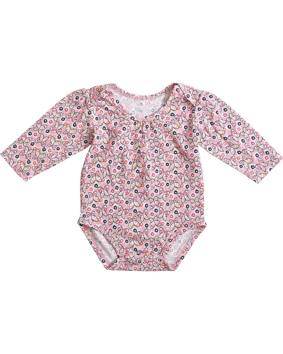 Wrangler Infant Girls' Pink Butterfly Print Long Sleeve Onesie, Pink, hi-res