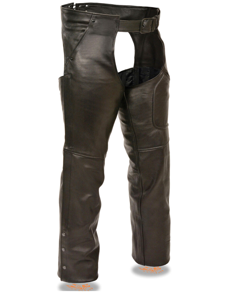 Milwaukee Leather Men's 3 Pocket Leather Chaps - 3X, Black, hi-res